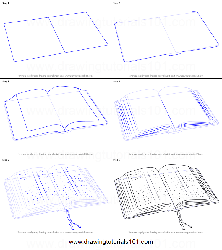 How to draw an open book printable step by step drawing sheet drawingtutorials101 com