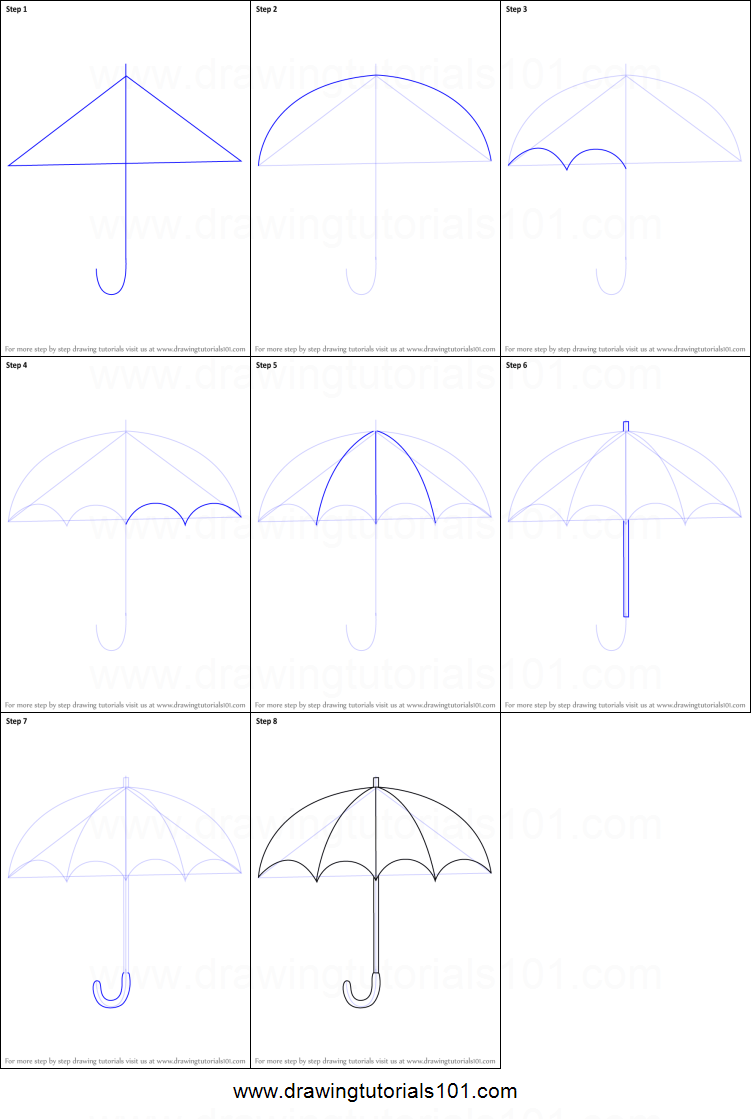 How To Draw An Open Umbrella Printable Step By Step