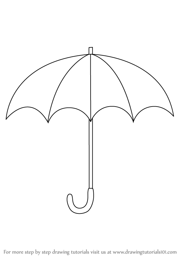 Learn how to draw an open umbrella everyday objects step by step drawing tutorials
