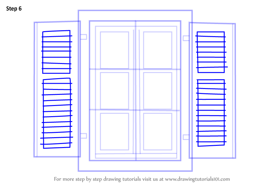 Learn How To Draw Open Window Everyday Objects Step By