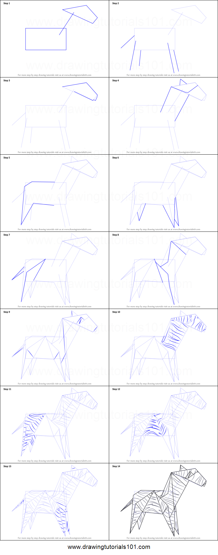 how to draw an origami zebra printable step by step drawing sheet