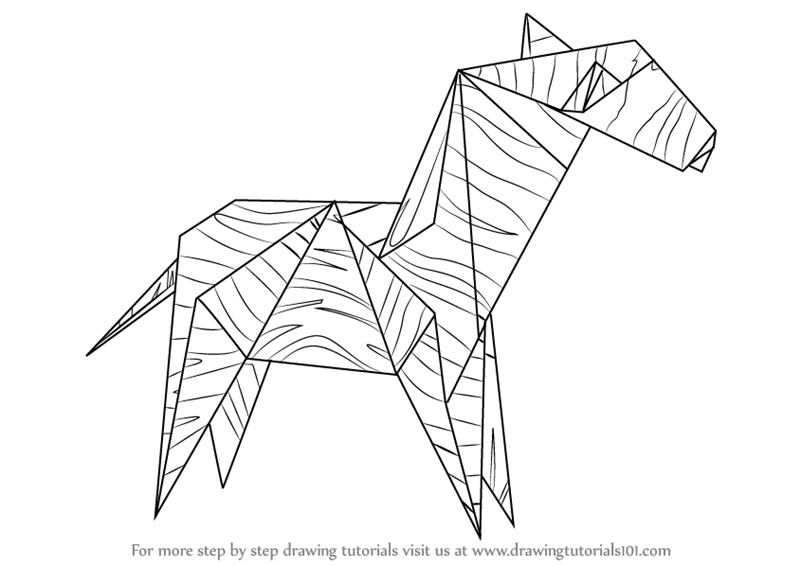 Learn How To Draw An Origami Zebra Everyday Objects Step By Step