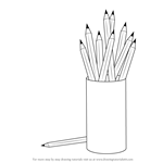 How to Draw a Pencil Box with Pencils