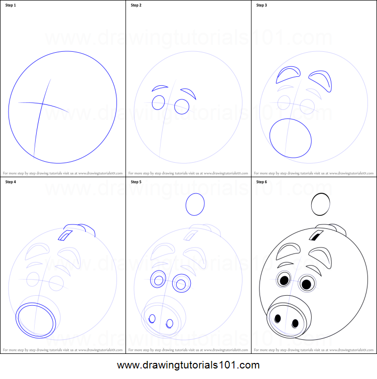 how to draw a piggy bank for kids printable step by step