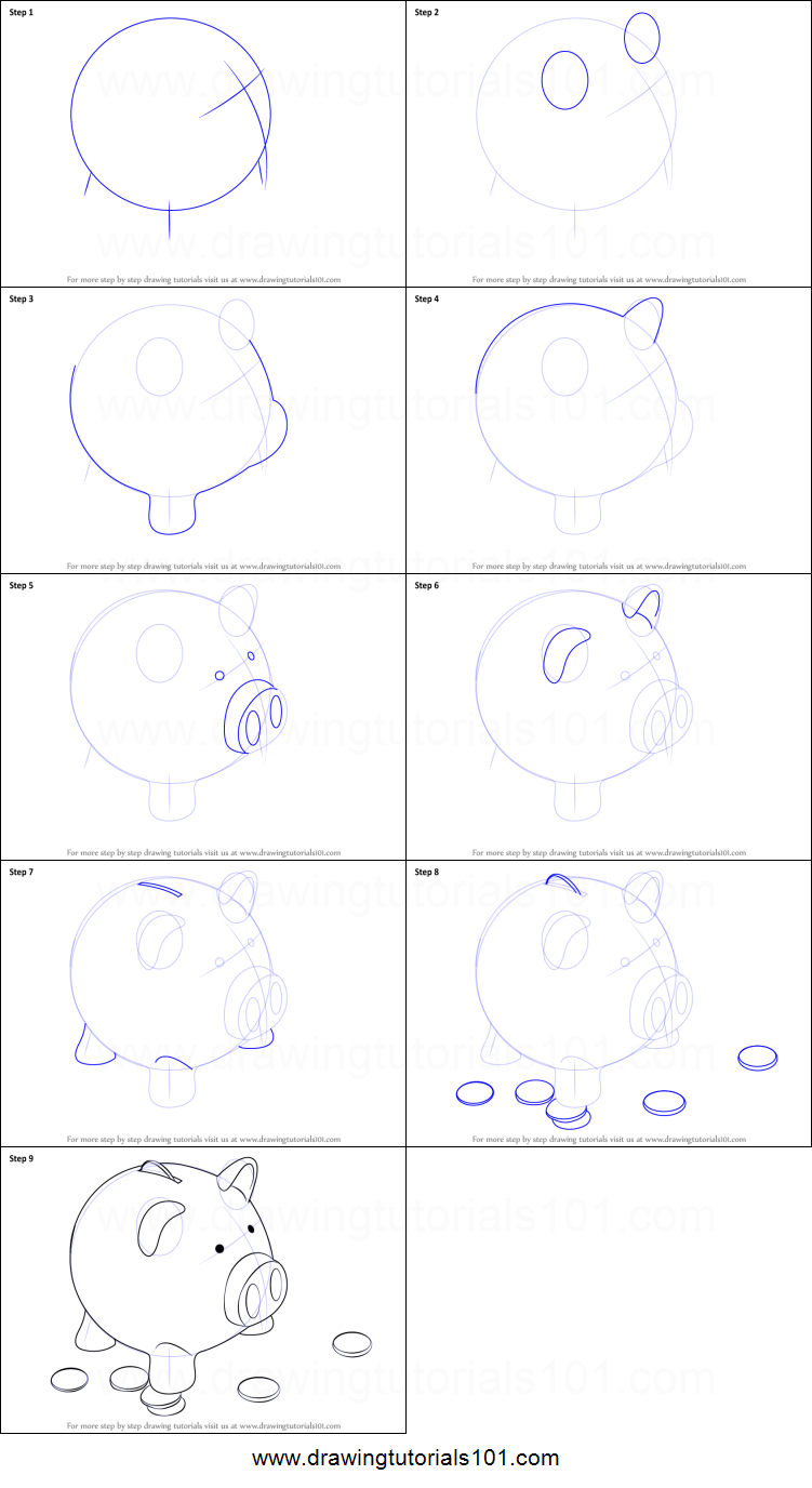 Line Drawing Piggy Bank : How to draw a piggy bank printable step by drawing