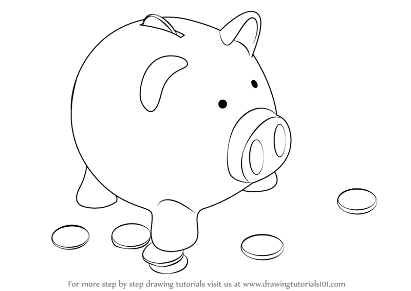 learn how to draw a piggy bank everyday objects step by