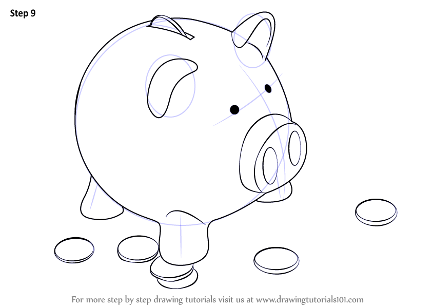 Scribble Drawing Objects : Learn how to draw a piggy bank everyday objects step by