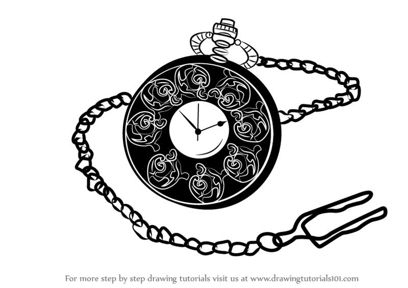 Line Drawing Step By Step : Learn how to draw a pocket watch everyday objects step by