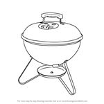 How to Draw Portable Charcoal Grill BBQ