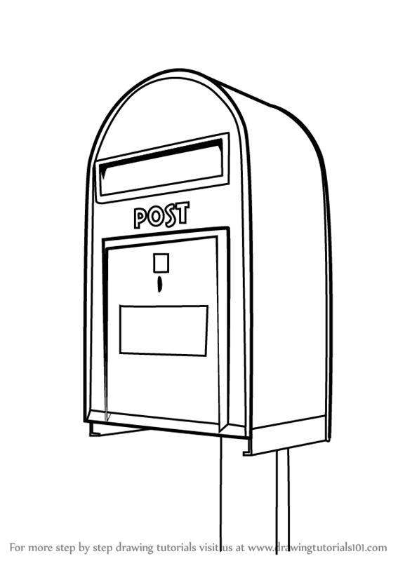 mailbox coloring pages for kids | Learn How to Draw Post Box (Everyday Objects) Step by Step ...