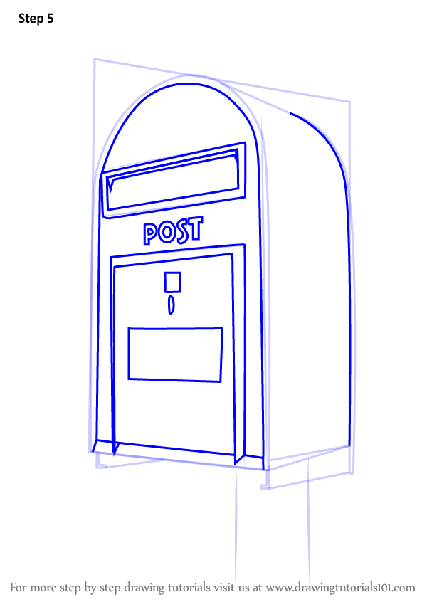 Learn How To Draw Post Box (Everyday Objects) Step By Step  Drawing Tutorials