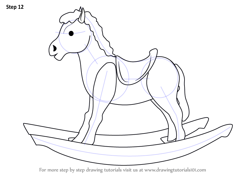 Step by Step How to Draw Rocking Wooden Horse for Kids