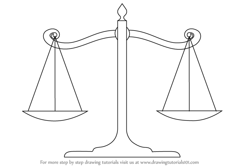 Learn How to Draw Scales of Justice (Everyday Objects ... Balance Scale Sketch