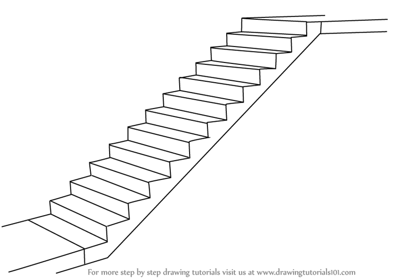 Learn How To Draw Staircase (Everyday Objects) Step By