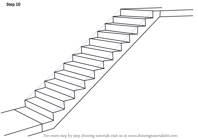 step by step how to draw staircase   drawingtutorials101 com