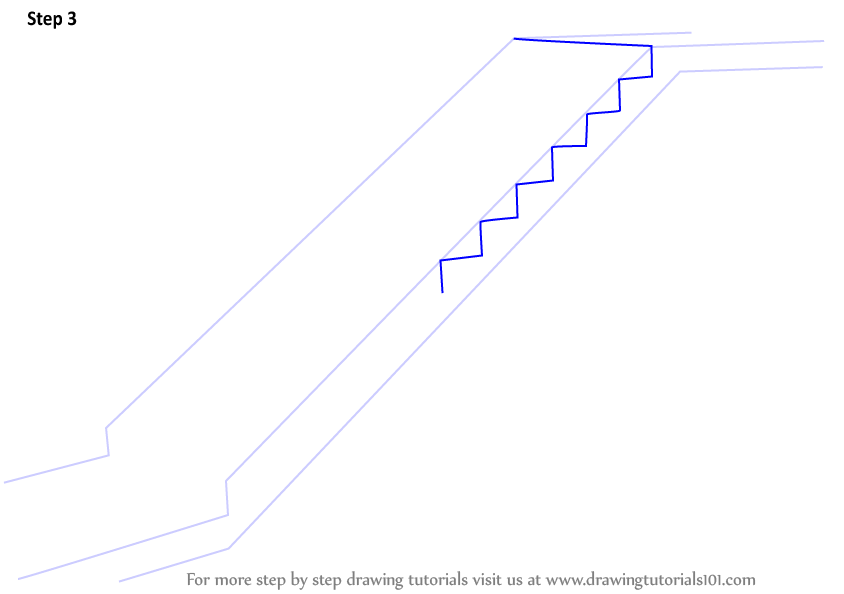 Zigzag Line Drawing : Learn how to draw staircase everyday objects step by