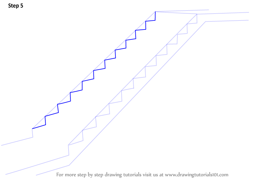Learn How to Draw Staircase (Everyday Objects) Step by Step