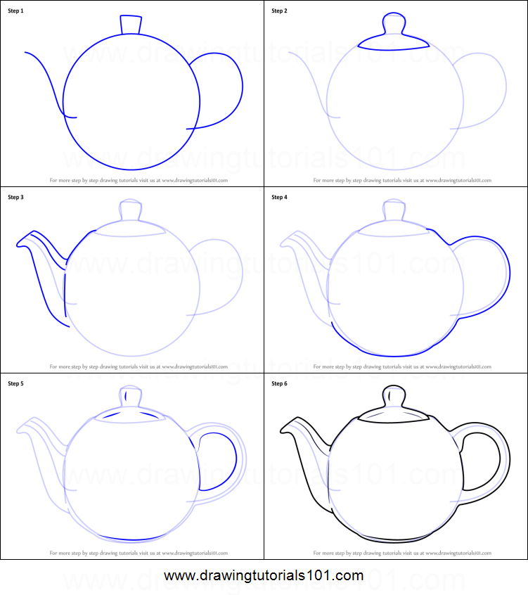 image regarding Teapot Printable referred to as How in direction of Attract a Teapot printable action through action drawing sheet
