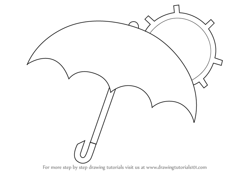 Line Drawing Umbrella : Step by how to draw an umbrella with sun