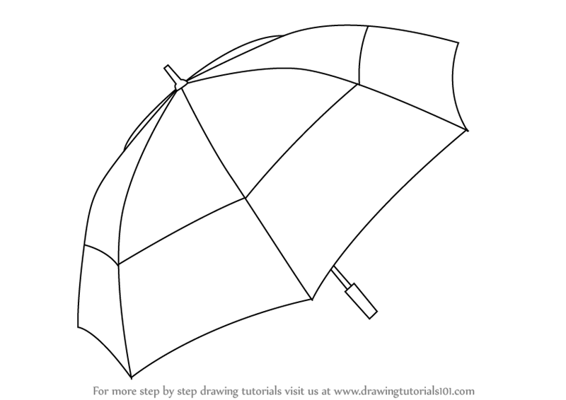 Line Drawing Umbrella : Learn how to draw an umbrella everyday objects step by