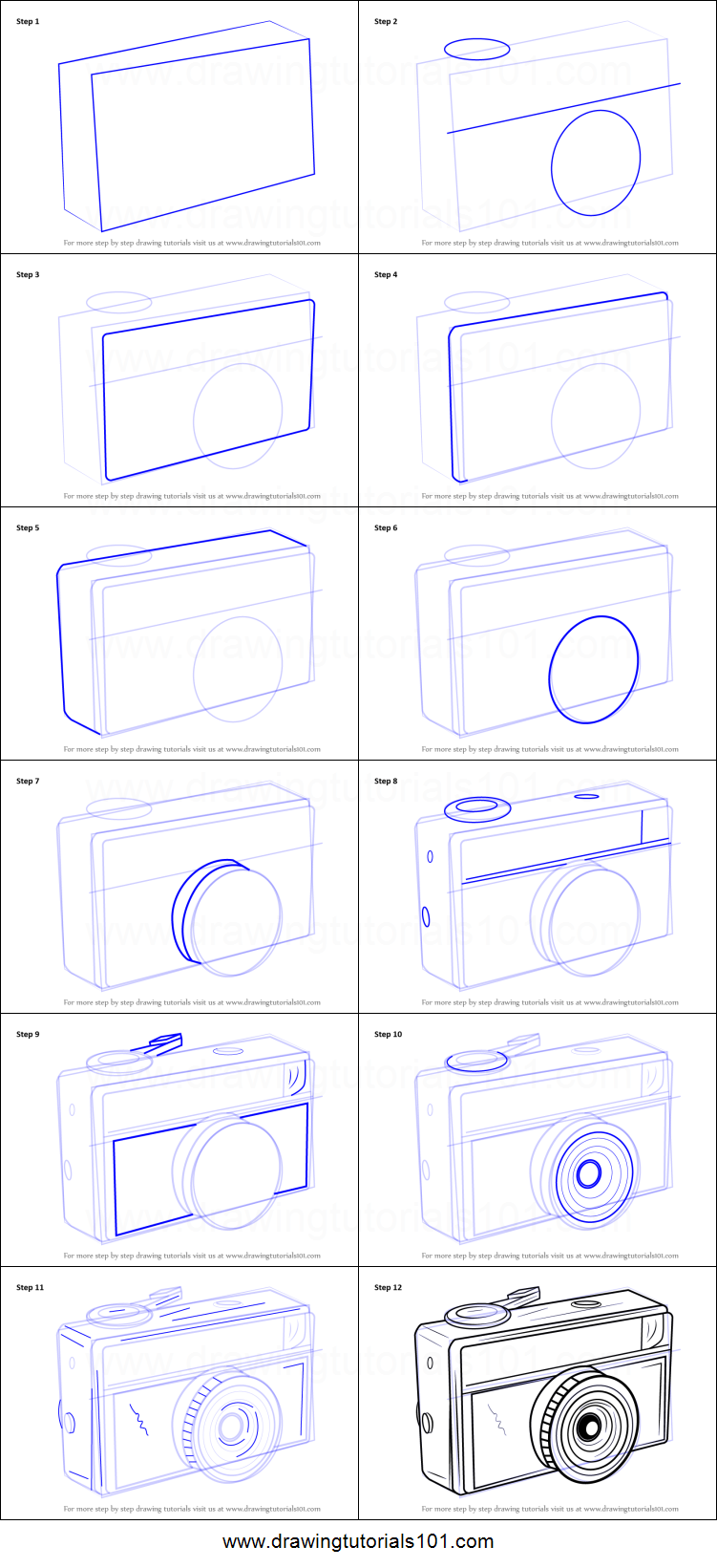 graphic about Camera Printable referred to as How towards Attract a Traditional Digital camera printable move via action drawing