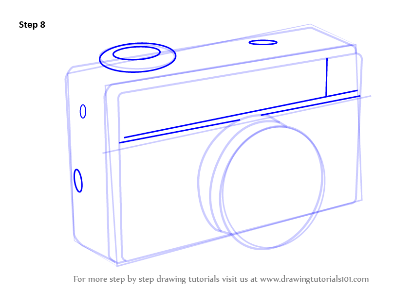 Vintage camera everyday objects step by step drawing tutorials