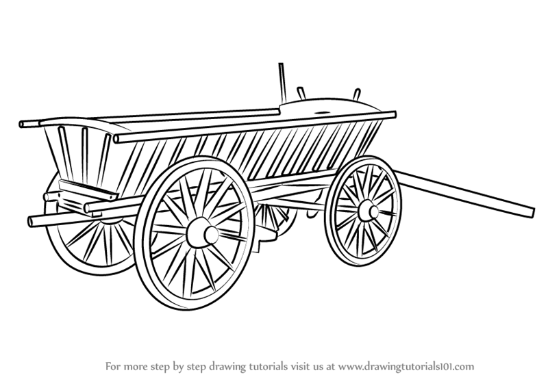 Learn How To Draw Wood Cart Everyday Objects Step By Step