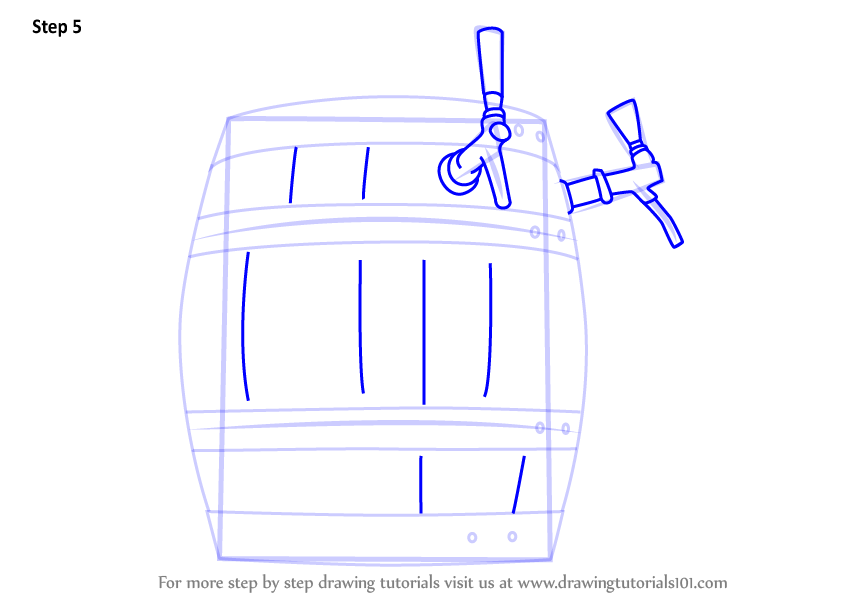Learn How To Draw Wooden Beer Keg Everyday Objects Step