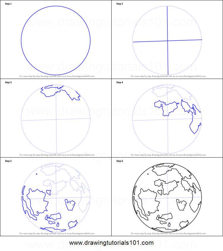 image relating to Printable Globe known as How towards Attract Planet Entire world printable stage as a result of stage drawing sheet