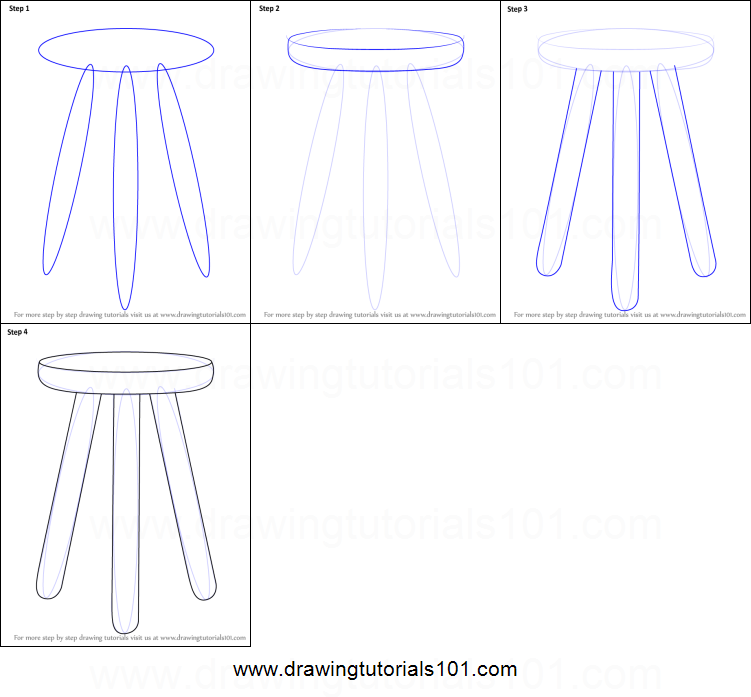 How To Draw 3 Legged Stool Printable Step By Step Drawing