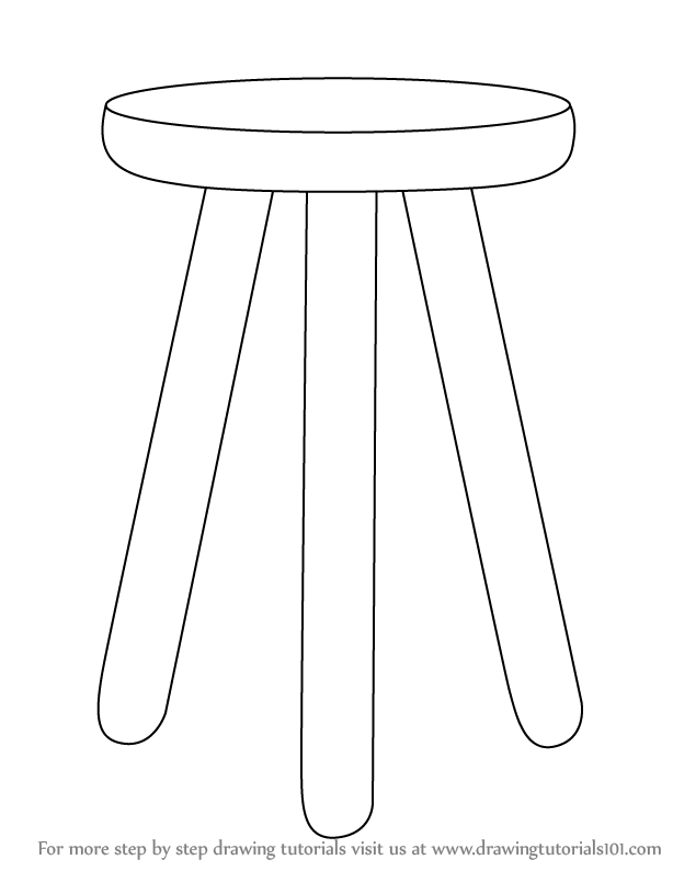 Learn How To Draw 3 Legged Stool Furniture Step By Step