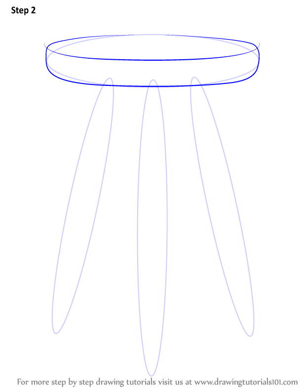 Step By Step How To Draw 3 Legged Stool