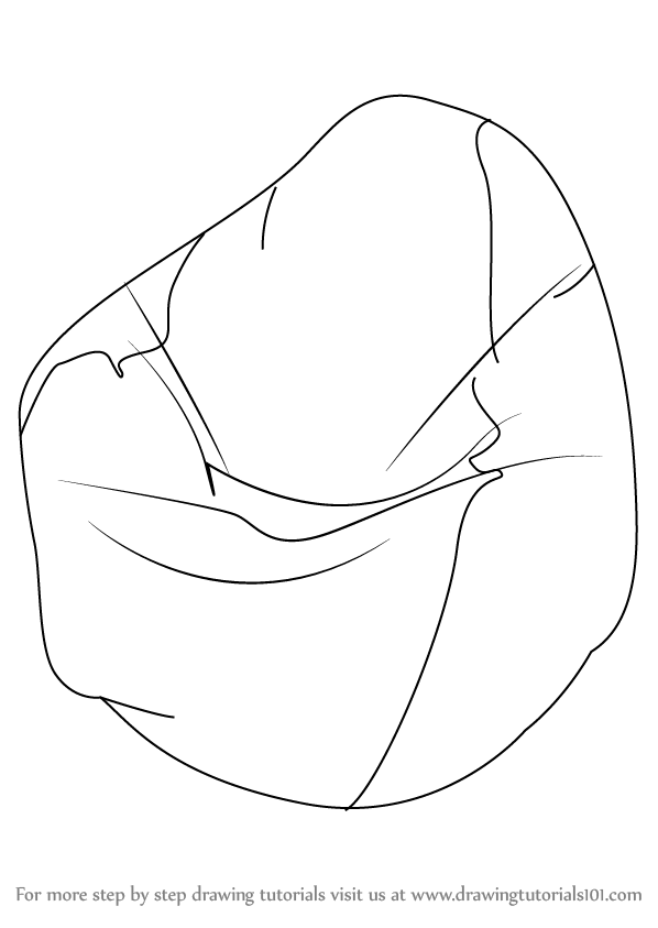Learn How To Draw A Bean Bag Furniture Step By Step