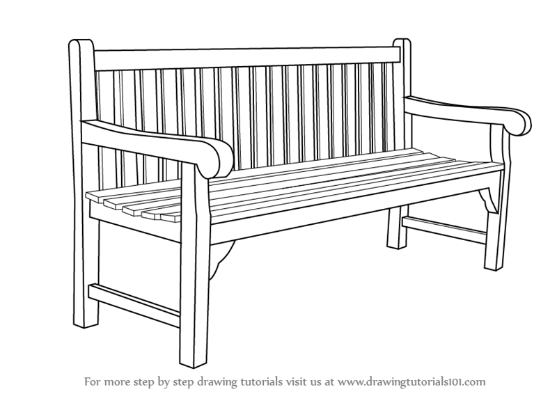 Swell Learn How To Draw A Bench Furniture Step By Step Drawing Machost Co Dining Chair Design Ideas Machostcouk