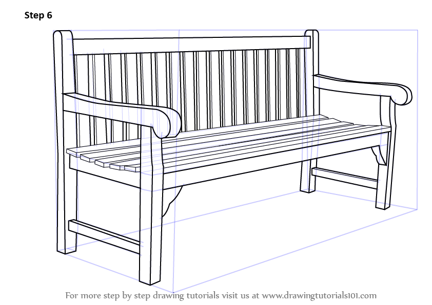 Learn how to draw a bench furniture step by step drawing tutorials