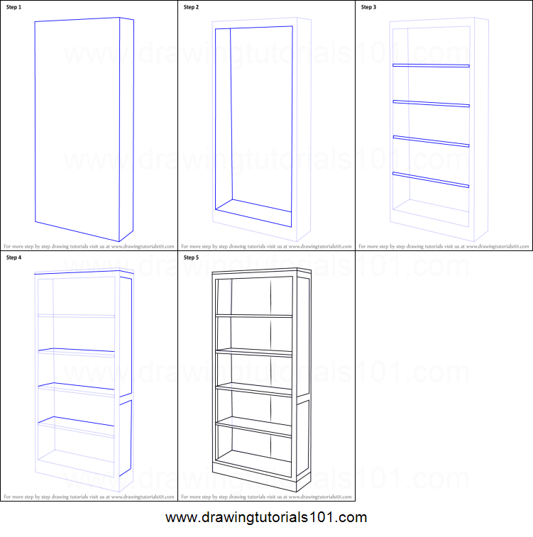 How to draw a book shelf printable step by drawing