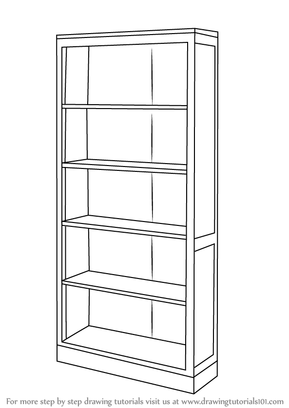 learn how to draw a book shelf furniture step by step drawing tutorials - Picture Of Book Shelf