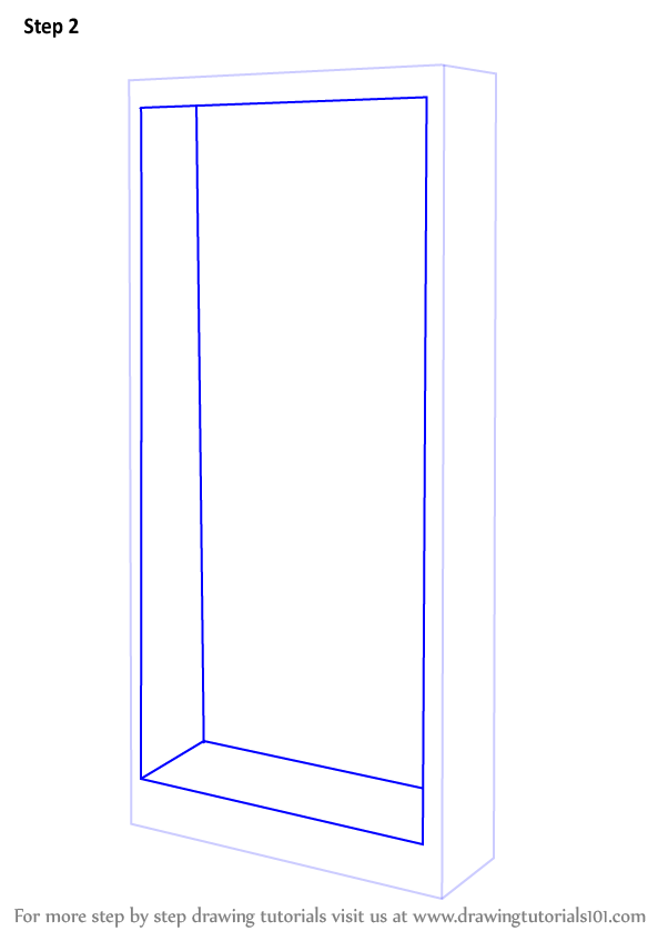 Learn How To Draw A Book Shelf Furniture Step By Step Drawing