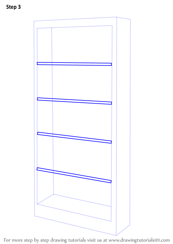 Learn How to Draw a Book Shelf (Furniture) Step by Step