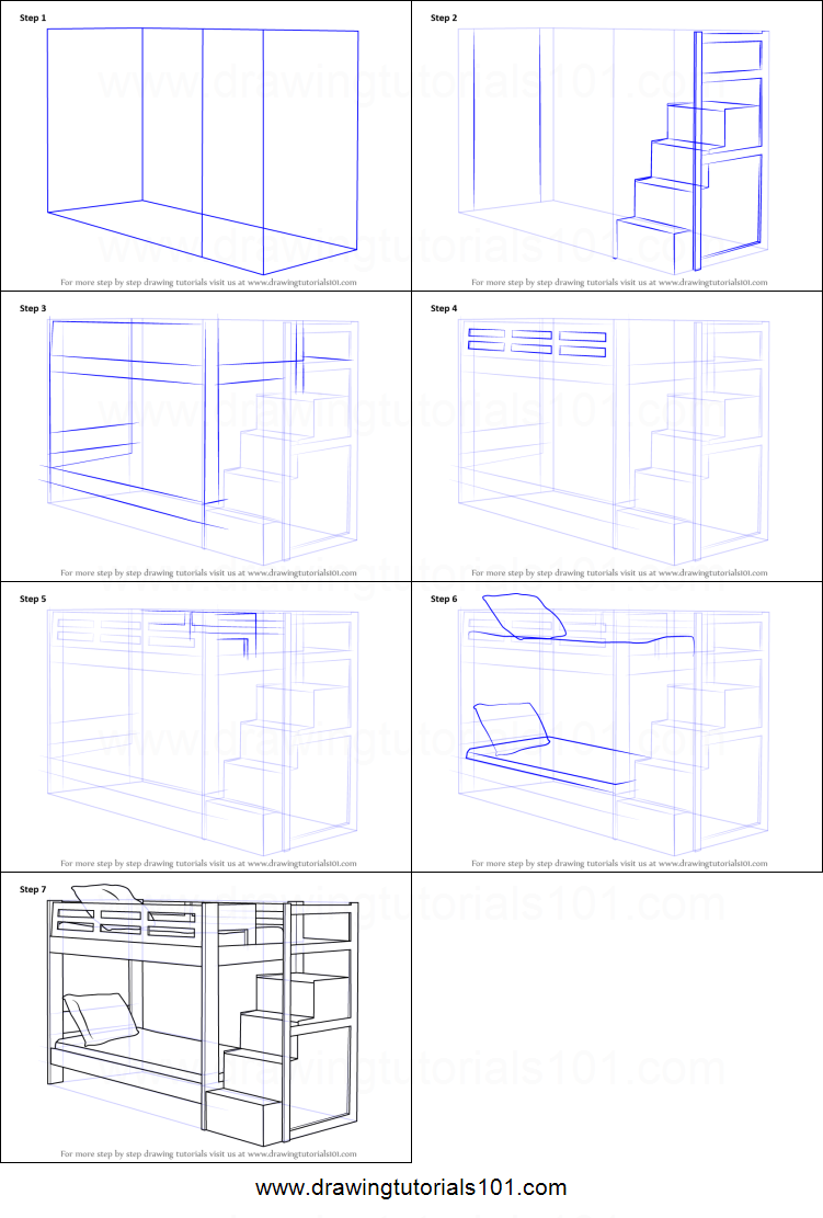 how to draw a bunk bed printable step by step drawing