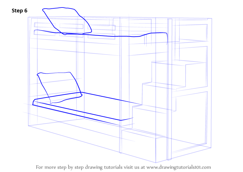 step by step how to draw a bunk bed
