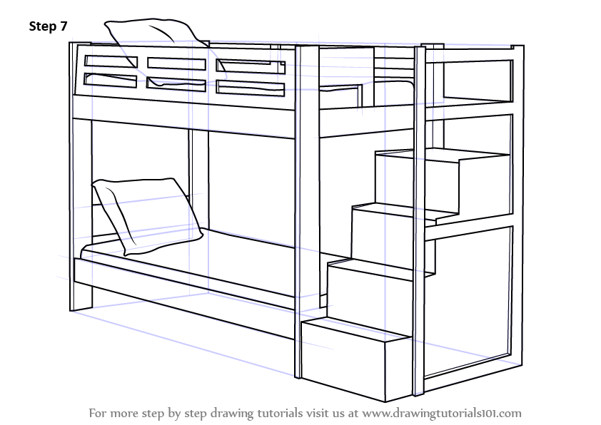Learn How To Draw A Bunk Bed Furniture Step By Drawing Tutorials