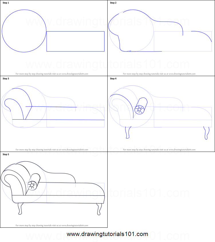 How to draw a chaise lounge printable step by step drawing for How to make doodle art