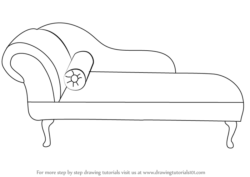 Learn How to Draw a Chaise Lounge (Furniture) Step by Step : Drawing Tutorials