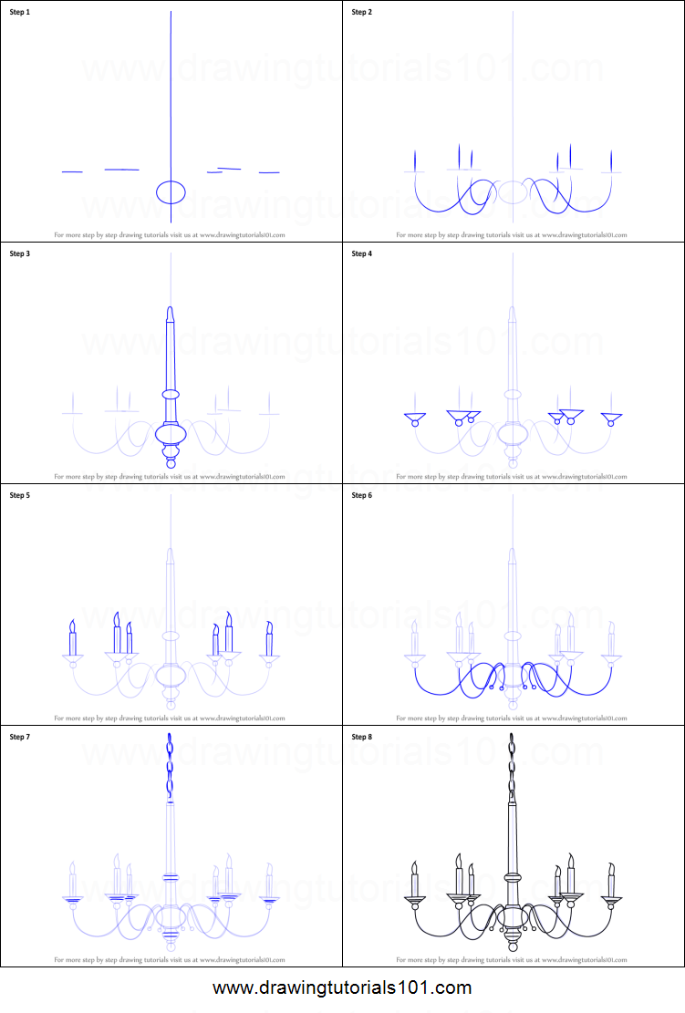How to Draw a Chandelier printable step by step drawing sheet : DrawingTutorials101.com