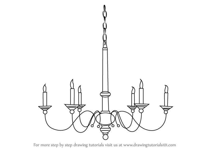 Learn How to Draw a Chandelier Furniture Step by Step  : how to draw Chandelier step 0 from www.drawingtutorials101.com size 800 x 566 png 50kB