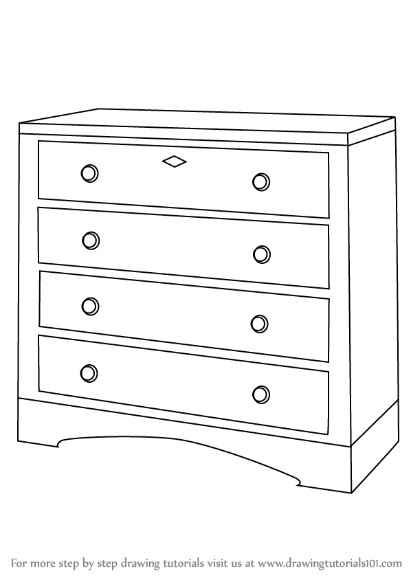 furniture design sketches png. Learn How To Draw A Chest Of Drawers (Furniture) Step By : Drawing Tutorials Furniture Design Sketches Png