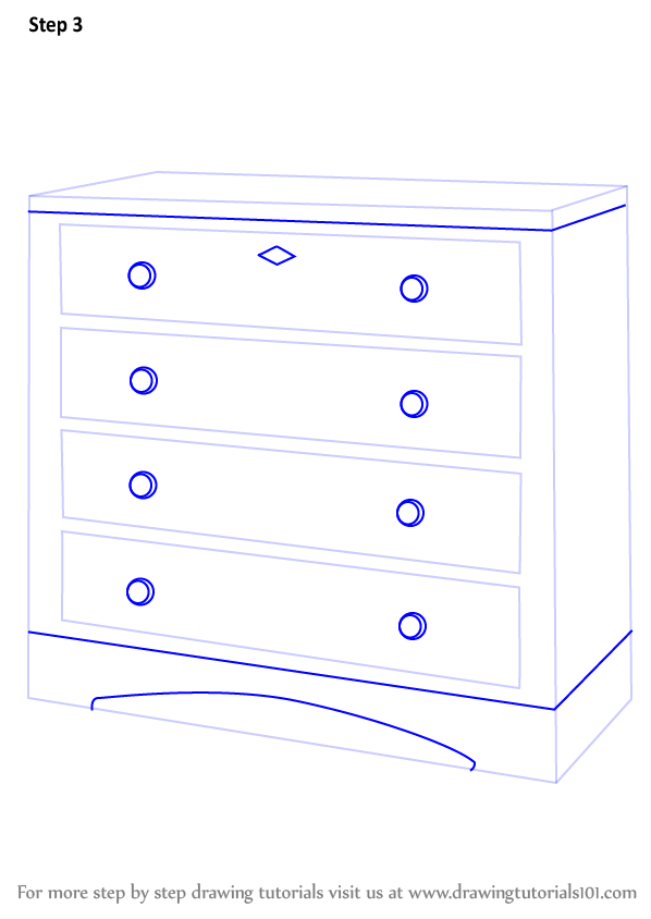 Learn How to Draw a Chest of Drawers (Furniture) Step by Step