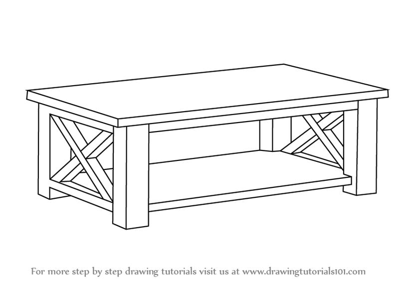 Learn How to Draw a Coffee Table Furniture Step by Step Drawing