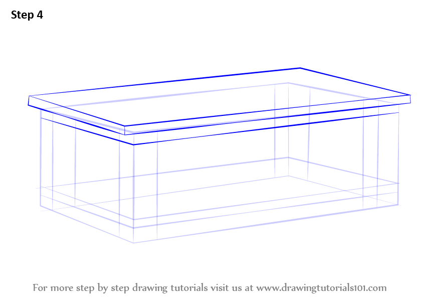 Learn How To Draw A Coffee Table Furniture Step By Drawing Tutorials